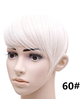 Hair False Bangs Clip in Women's Hair Extension Oblique Stripe Mix Brown Blonde Fake Straight Hair Natural Bang,#60