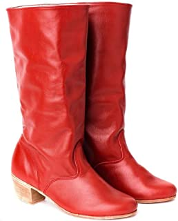 Russian leather boots women red dance shoes Cossack boots