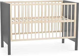 kk Kinderkraft Kinderbett MIA Babybett aus Holz Gitterbett Bettumrandung 3 Stufen Höhenverstellbar von Geburt bis zu Höhe 120 cm, Grau