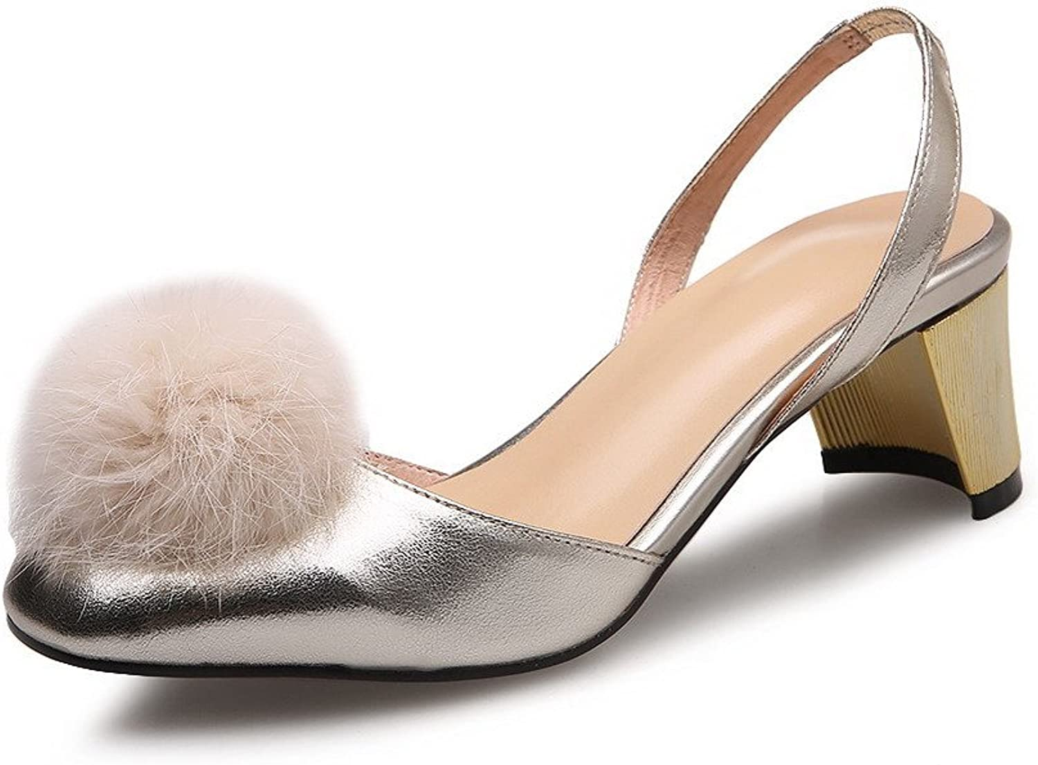 AmoonyFashion Women's Pull-on Kitten-Heels Cow Leather Solid Closed Toe Sandals