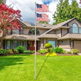 charaHOME 25FT Telescopic Flag Pole Free 3'x5' American Flag & Golden Ball Top Kit Flagpole Hardware Heavy Duty 16 Gauge Aluminum Flagpole for Commercial or Residential Ground PVC Sleeve Fly 2 Flags