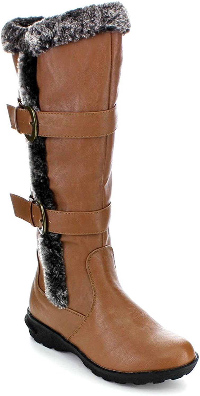 Forever Aura-43 Womens Double Straps Knee High Boots Winter Boots,Tan,10
