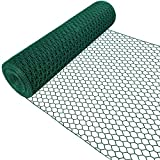 Amagabeli 1M x 25M Grillage Jardin 13mm Grillage à Poule Cloture Jardin RAL6005 PVC Maille Fine Grillage Poulailler Hexagonal Bordures Jardin Grillage Triple Torsion Voliere HC05