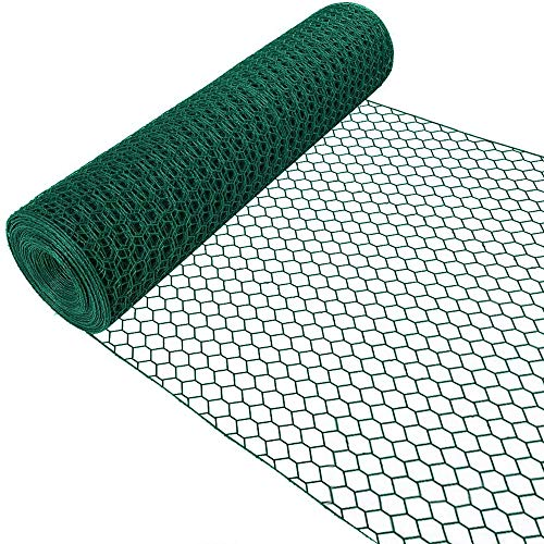 Amagabeli 1M X 25M Green Hexagonal Wire Mesh Fencing RAL6005 PVC Coated 13mm Mesh Size 1mm Wire Diameter Galvanized Wire Fence Roll for Garden Poultry Netting Chicken Wire Hardware Cloth HC05