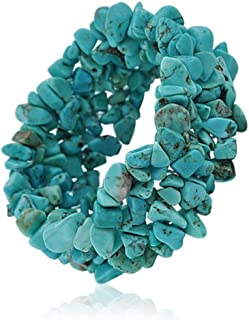 Blue Stabilized Turquoise Chip Stone Wide Chunky Cluster Multi Strand Stretch Bracelet for Women