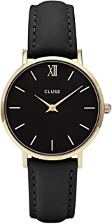 Cluse Women's Minuit Leather Collection 33mm Leather Band Metal Case Quartz Analog Watches