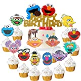 25Pcs Sesame Street Cake Cupcake Topper for Kids Happy Birthday Party Favor Supplies Gold Glitter Sesame Street Cake Cupcake Topper Elmo Big Bird Monster Oscar Ernie Inspired Party