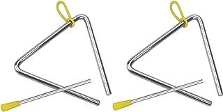 Instrumento Triangular y Batidor,2 PCS Instrumentos Musicales Acero Instrumento Musical Manual Tradicional Triángulo Music...