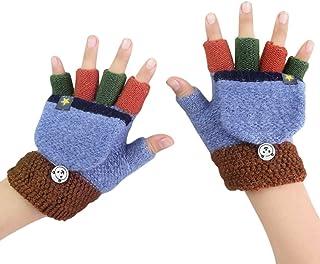 Kid Toddler Magic Winter Wool Knit Mitten Convertible Flip Top Fingerless Gloves