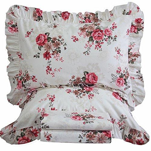 Queen's House Chic Rose Floral Duvet Covers Bedroom Set-Queen,B