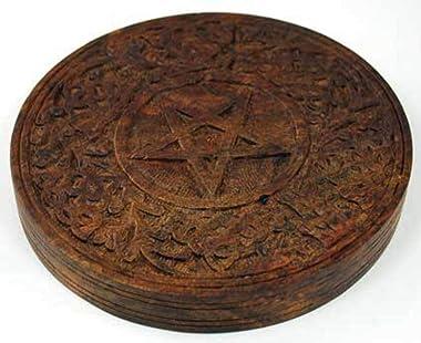"""Wooden Pentagram Altar Tile 6"""" (RA603) -"""
