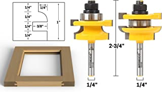 Yonico 12241q Round Over 2 Bit Rail and Stile Router Bit Set 1/4-Inch Shank