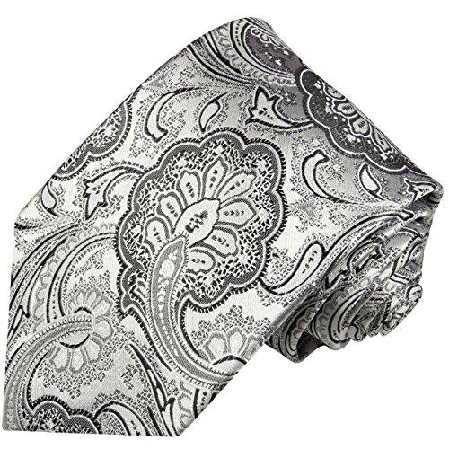 Paul Malone Krawatte silber schwarz florale Seidenkrawatte normallange 150cm