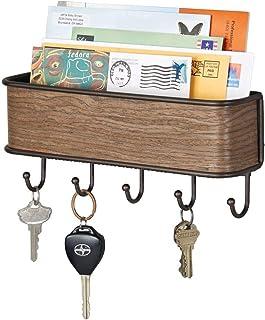 mDesign Colgador de llaves con estante para uso variado -