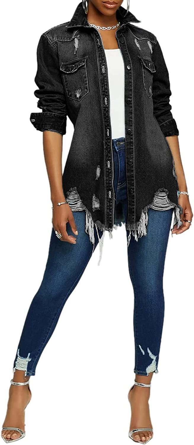 Women's Casual Denim Jacket Long Free shipping anywhere in the nation Sleeve Ripped Classic Coat New item Hole
