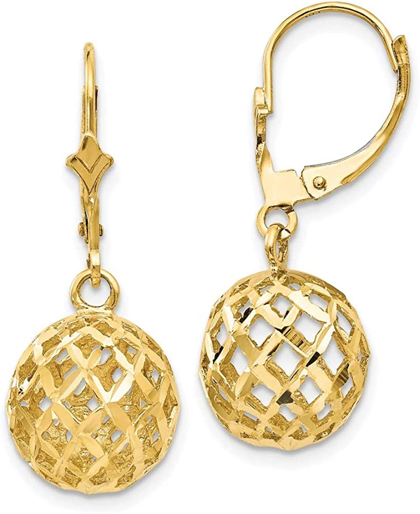 14k Yellow Gold Mesh Ball Drop Dangle Chandelier Leverback Earrings Lever Back Fine Jewelry For Women Gifts For Her