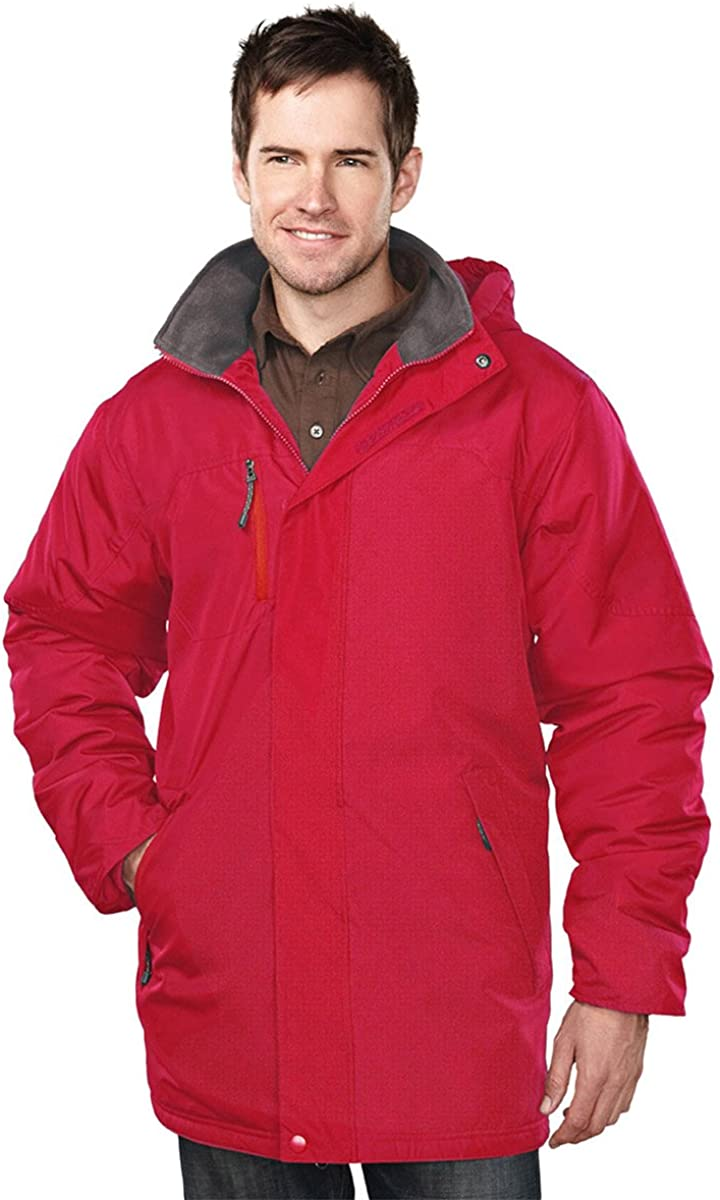 Tri-Mountain 9980 Mens 100% Polyester Long Sleeve jacket With Water Resistent - Red/Midnight Charcoal - L
