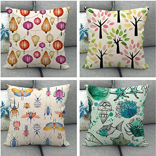 JgZATOA Cartoon Insects Cushion Cover Living Room Sofa Pillow Cases Bed Pillow Case Office Cushion 45 X 45Cm Set Of 4