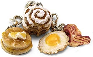 Breakfast Charms ~ Pancakes, Cinnamon Roll, Egg & Bacon ~ Food Jewelry