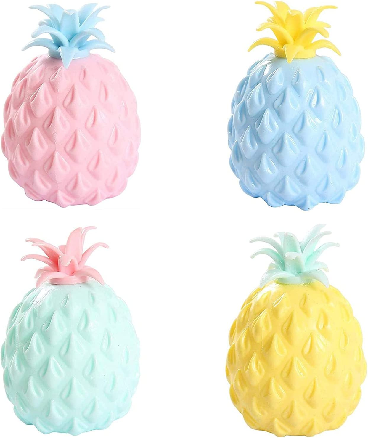 Pineapple Stress Ball, Squishy Stress Ball for Kids Adults, Sensory Fidget Toy, Hand Exercise Tool (4Pack)