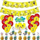 BESTZY Bob Esponja Globos Decoraciones de Cumpleaños Bob Esponja Cake Topper Suministros para Fiesta Happy Birthday Banner Spongebob Niños Decoración para Fiestas