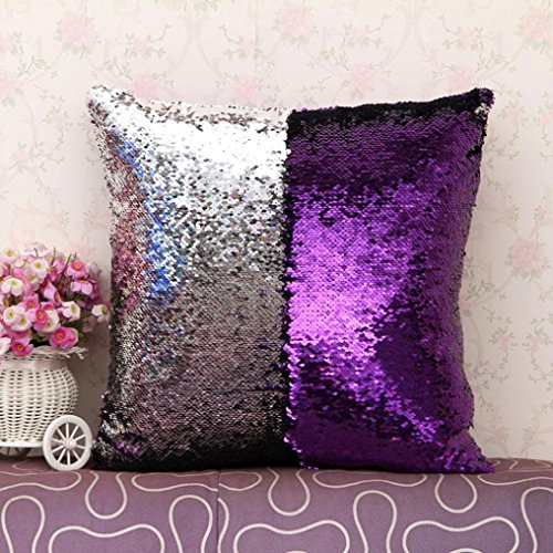Elogoog Double Color Reversible Sequins Mermaid Sofa Bed Pillow Case Zippered Square Decoration Cushion Covers for Home Decor DIY (16 x 16 Inches, Double Color_A)