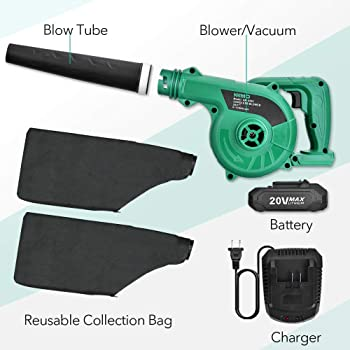 Cordless Leaf Blower - KIMO 20V Lithium 2-in-1 Sweeper/Vacuum 2.0 AH Battery for Blowing Leaf, Clearing Dust & Small ...