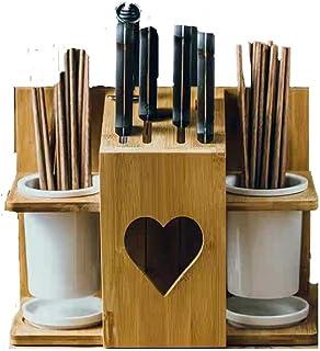 ghl Outil Multifonctionnel de Cage de Baguettes de Blocs de Couteau en Bambou, Support de Coupe de Support de Stockage Pou...