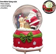 Christmas Snow Globe Music Box, Globos de nieve luminosos musicales con copos de nieve bailando, manualidades hechas a mano con bolas de agua para el cumpleaños de Acción de Gracias Navidad Año Nuevo