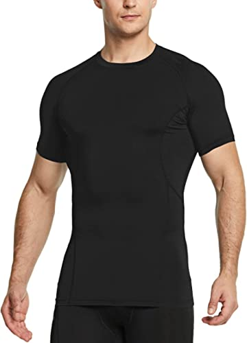 TSLA Men's (Pack of 1, 2, 3) Cool Dry Short Sleeve Compression Shirts, Athletic Workout Shirt, Active Sports Base Lay...