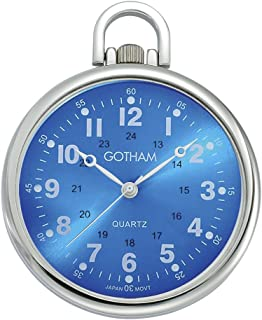 Gotham Men's Silver-Tone Ultra Thin Railroad Open Face Quartz Pocket Watch # GWC15027SBL