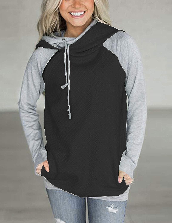 Aitos Womens Hoodies Long Sleeve Jumper Colorblock High Neck Sweatshirt Pullover Sweater Coat Pocket