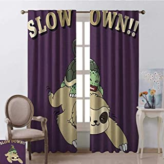 youpinnong Sloth, Curtains Insulated, Funny Cartoon Scenery with Sloth Turtle Snail on Top of Each Other Slow Down Phrase, Curtains Kitchen Window Set, W108 x L96 Inch, Multicolor