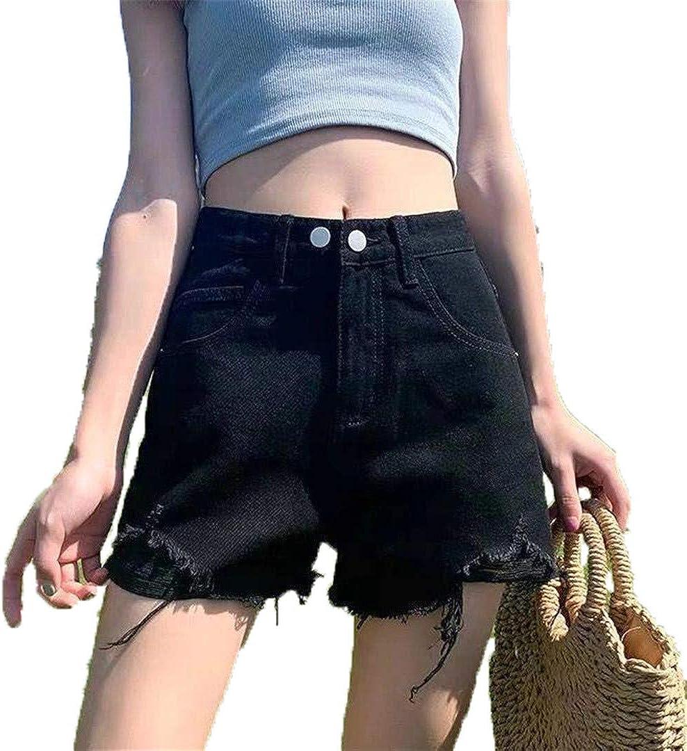 YHK Summer Women Hole Vintage Blue Denim Shorts Casual Wide Leg Black Jeans Shorts