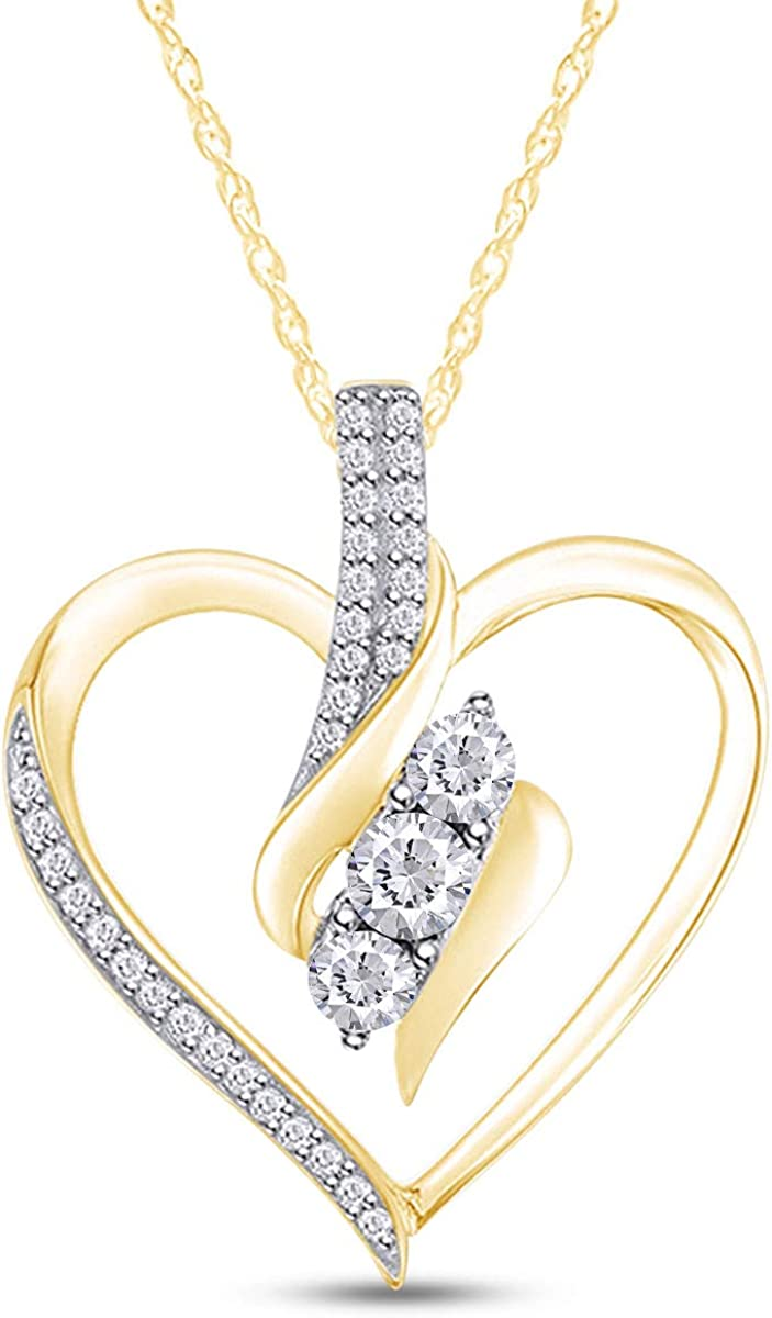 Popularity AFFY Round Sales Cut White Natural Diamond in Heart Necklace 1 Pendant