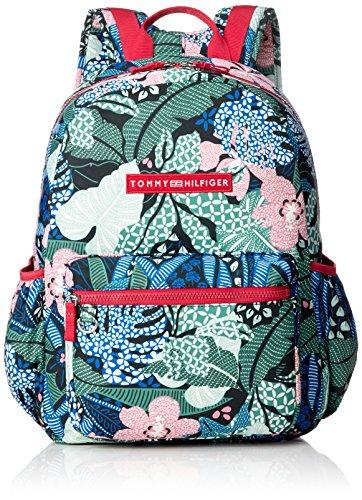 Tommy Hilfiger Unisex-Kinder Basic Nylon Backpack Rucksack, Grün (Floral Print), 13x41x30 cm