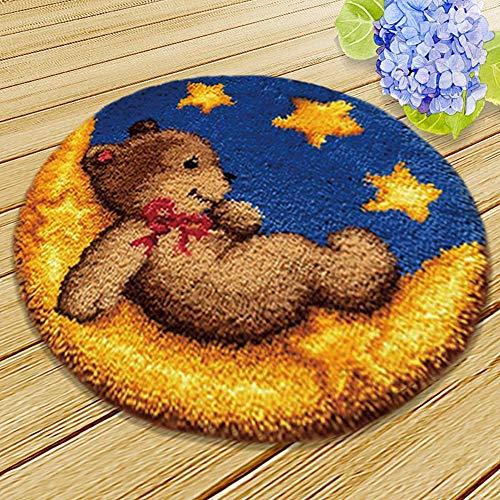 Latch Hook Rug Making DIY Tools Kit for Home Decor New Model Dog Teddy Bear Latch Hook Carpet Kits (Type C)