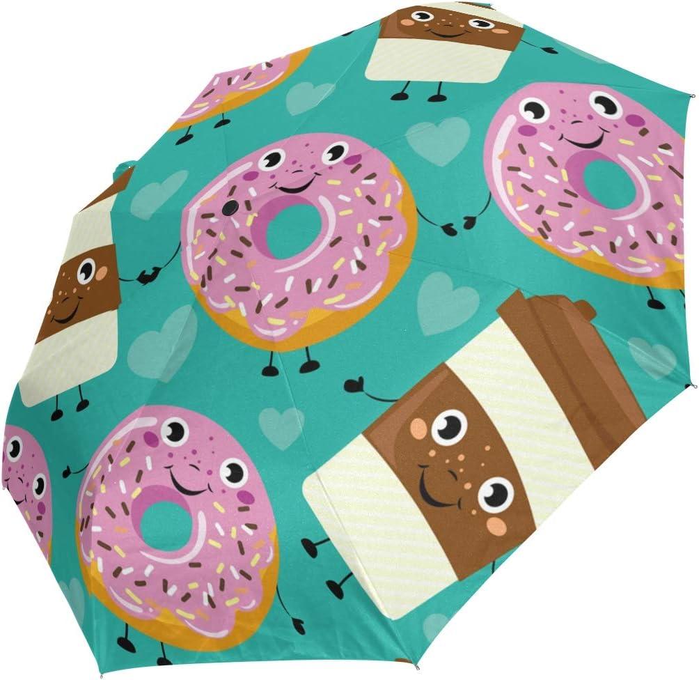 Mini Folding Umbrella Cartoon New color Donut Blue Face Coffee Drinks Daily bargain sale Wind