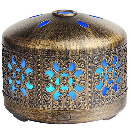 SALKING Aroma Diffuser Wasserlos und Wireless, Metall USB Tragbarer Aromatherapie Diffusor für ätherische Öle, Elektrisch Duftlampe, 7 Farbe Licht Diffusor für Reise Zuhause Büro Oder Yoga