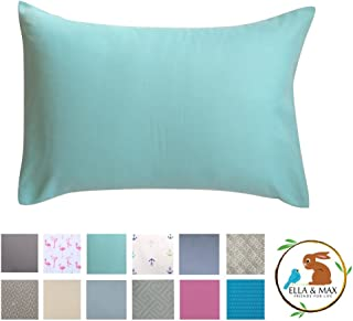 Toddler Pillowcase by Ella & Max. Aqua Color. Fits 13x18 & 14x19 Toddler Pillows. Easy to wash & no Ironing. Handmade in USA. Made of Luxury Microfiber Fabric.