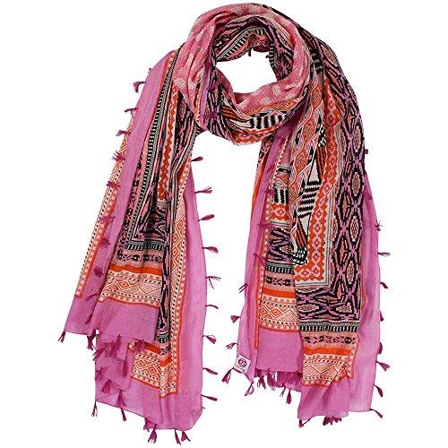 Cute Stuff sjaal Ethno met kwasten, roze oranje, ca. 210 x 105 cm.
