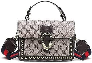Ladies handbag Women's Classic Print Joker handbag fashion print retro messenger bag wide shoulder strap wine god bag(Brown, one size)