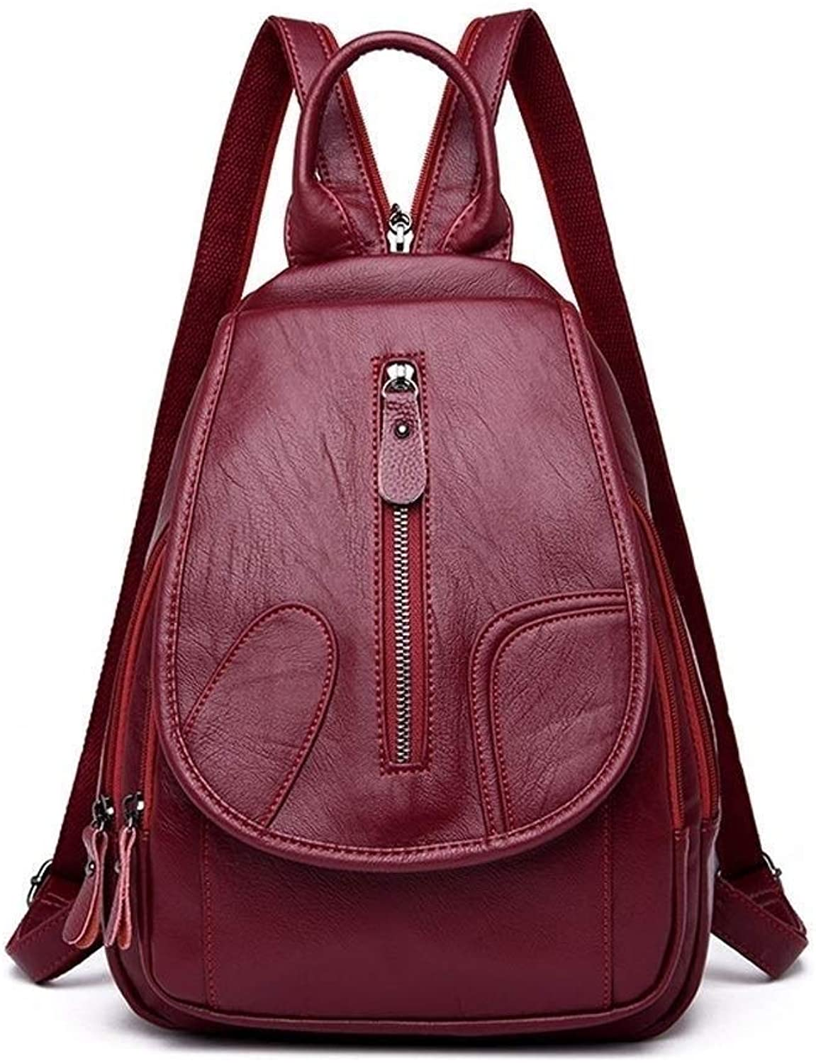 MUTANG Fashion Causal PU Leather Backpack Purse for Women Shoulder Bag Travel Daypack (color   Red)