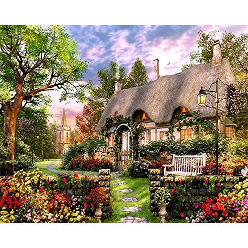 DIY pintura por números paisaje casa pintura al óleo para adultos sobre lienzo dibujo para colorear por número decoración del hogar A15 40x50cm