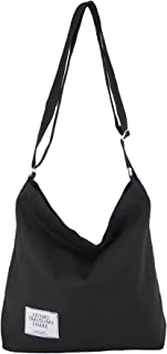 Canvas Hobo Bags for Women Crossbody Large Zipper Tote Casual Work Travel Over the Shoulder Bag