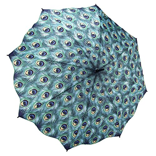 Galleria Peacock Auto-Open Extra Large Quality Rain Stick Umbrella for Women