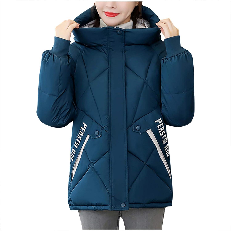 Women's Hooded Jacket,Fashion Winter Short Casual Hooded Loose Cotton Jacket Coat
