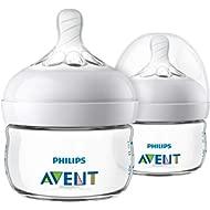 Philips Avent Natural Baby Bottle, Clear, 2oz, 2pk, SCF019/25