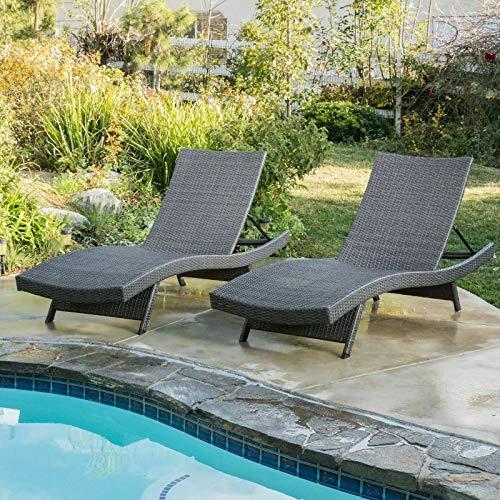 ana1store Couple Grey Woven Arch Sunbath Bed Convenient Curl Stackable Perfect Ergonomic Patio Garden Pool Terrace Lightweight Folding 2pcs Wicker Rattan Chaise Lounge Chair 27.50'x79.50'x14.75'