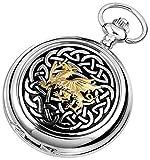 Woodford Plata/oro/Negro céltico del dragón Cromado Doble Hunter Esqueleto completo de bolsillo Relojes